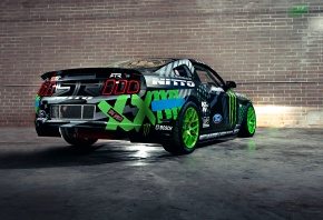 Ford, Mustang, RTR, Drift, Vaughn Gittin Jr, Team, Monster energy, Competition, Sportcar, Black, Green, Wall