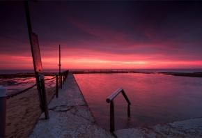 сумерки, вечер, тучи, пляж, закат, небо