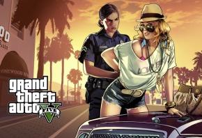Обои gta, девушки, коп, машина, арест