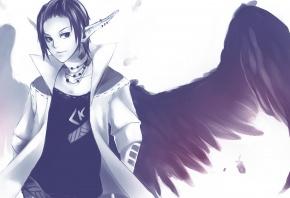 Парень, крылья, уши, эльф, перья
