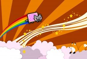 nyan cat, nyan, cat, кот, лиса, веселье, облака