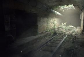 Обои рендер, Miguel Oliveira, туннель, проём, дыра, свет, растения, трубы, рельсы