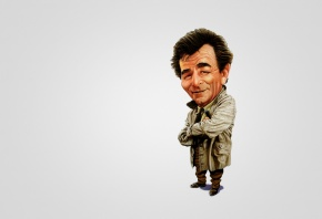 Коломбо, Columbo, Питер Фальк, Peter Falk, сигара, плащ, арт, улыбка