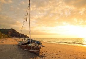 лодка, море, пляж, песок, рассвет