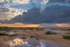 Обои море, берег, небо, пейзаж, песок, вода
