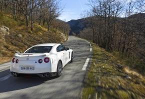 Nissan, ниссан, гора, gt-r, вид сзади, машина