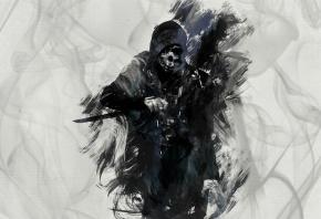 Обои dishonored, art, corvo attano, убийца, корво, игры, арт, knife, нож