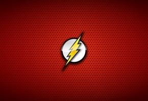 вспышка, молния, фон, красный, логотип