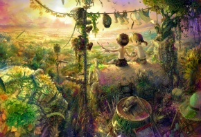 дети, мальчик, девочка, закат, природа, пейзажи, беседа