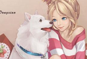 dong xiao, девушка, собака, ошейник