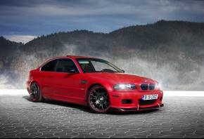 BMW, M3, E46, BBS, red, бмв, красный, лес, горы, туман, брусчатка