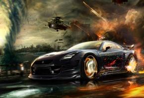 Обои nissan, gt-r, car, скорость, погоня, вертолеты, обстрел, смерч, город, огонь, машина, тачка