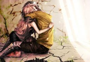 Обои genki-de, девушка, парень, обьятия, любовь, стены, пол, трещины, свет, растения