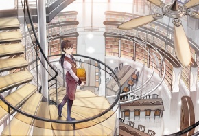 shimetta oshime, библиотека, девушка, книги, лестница, винтовая, вентилятор