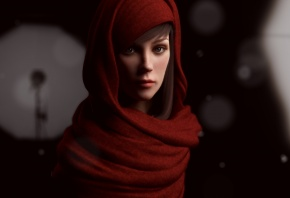 Rajbir Dhalla, девушка, лицо, капюшон, в красном