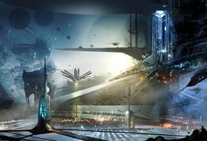 Обои город будущего, здания, корабли