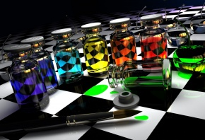 3D, графика, ярко, красиво, краски, колбы, кисть