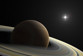Обои планета, сатурн, кольца, звезда, звёзды