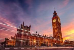 часы, биг бен, выдержка, лондон, вечер, Город, англия
