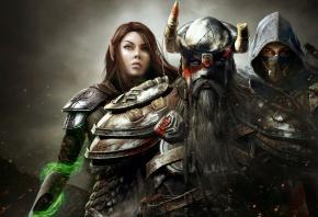 мужчины, девушка, The elder scrolls online, воин, маг, ассасин