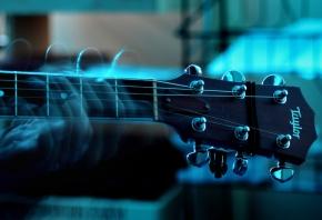 Обои Гитара, музыка, синий