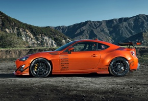 Обои Toyota, 86, Scion, FR-S, Tuning, Widebody, Spoilers, Orange, Style, Rims, Wheels, Mountain