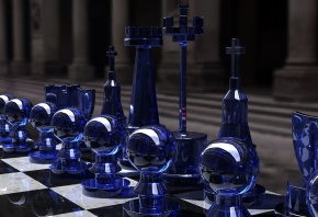 Обои стратегия, Chess set, blue side, игра, шахматы, glass, rendering