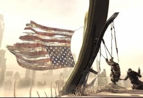 Spec Ops:The Line, американский флаг, песок, солдат