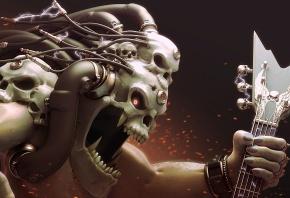 арт, монстр, голова, провода, череп, электричество, заряд, гитара, клыки, пасть, искры