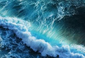 волна, голубая, прибой, Море, пена