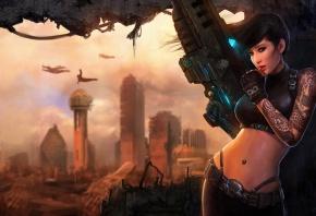 город, оружие, проём, руины, Арт, стена, девушка