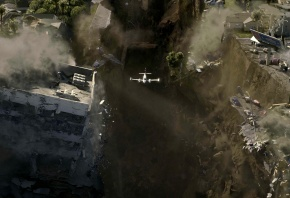 Обои 2012, катастрофа, самолет, город, разрушения