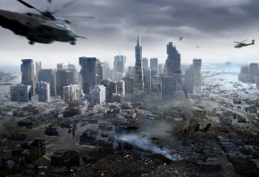 город, мегаполис, вертолеты, катастрофа, вода, потоп, разрушение, дым, руины