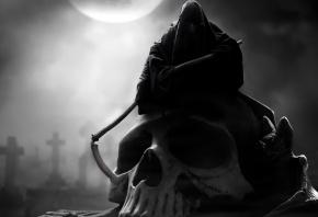 смерть, капюшон, череп, коса, луна, мрачно