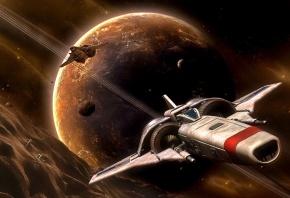 Обои корабль, космос, астероид, планета, звезды