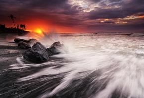пляж, океан, закат, брызги, волны, пальмы
