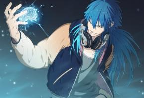 аниме, мозг, наушники, парень, DRAMAtical Murder, синие волосы