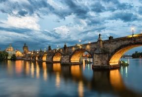 Карлов мост, Чехия, река, Влтава, небо, облака, вода, отражение, вечер