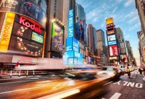 Таймс-сквер, США, Америка, дорога, огни, машины