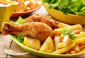 курица, картошка, тарелка, вилка, лимон, салат