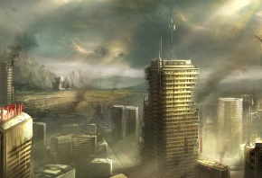 Обои арт, руины, город, заброшенность, разруха, дым, горы