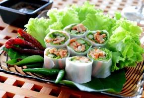 роллы, рис, листья, салат, перец, зеленый, красный