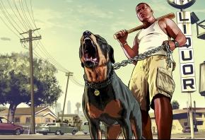 Обои Grand Theft Auto V, мужик, бита, пес, лос сантос, Франклин, чоп, ротвейлер, бита