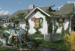 дом, арт, вертолет, авария, человек, забор