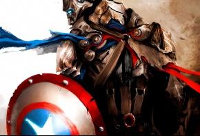 Обои marvel, марвел, avengers, мстители, first avenger, первый мститель, captain america, капитан америка, steve rogers, стив роджерс, medieval, средневеко