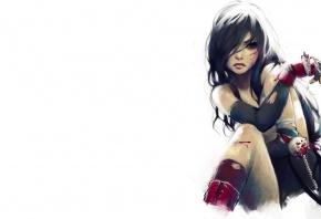 Обои рисунок, Final Fantasy, Tifa, Тифа, Локхарт, Lokhart, девушка, белый фон, кровь, раны