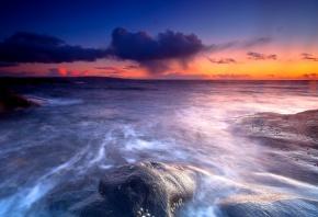 камни, море, горизонт, вода, небо, закат