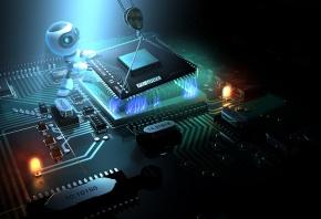 микросхема, робот, процессор, плата, чипы