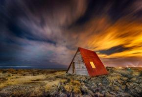 дом, крыша, поле, небо, исландия, ночь