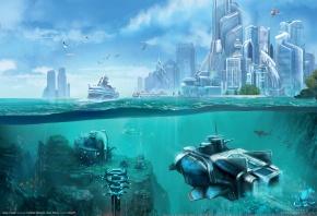 Anno 2070 - Deep Ocean, Anno, будущее, океан, подводный мир, станция, аппарат, риф, корабль, город
